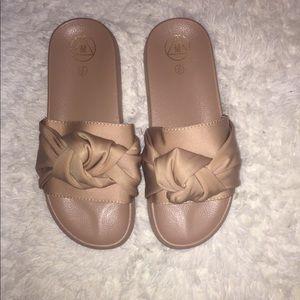 Nude Front Tie Sandals
